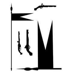 Collection of ancient guns and copies with a flag vector