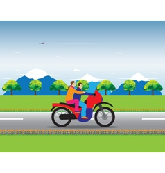 Couple on a motorbike vector