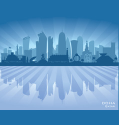 doha qatar city skyline silhouette vector image vector image
