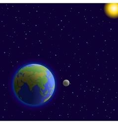 Earth moon and sun vector