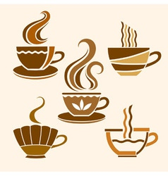 Five stylized cups vector image vector image