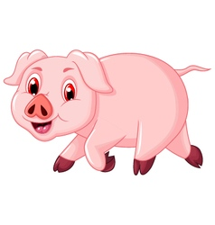funny pig cartoon walking vector image