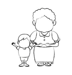grandma and her grandson standing together family vector image