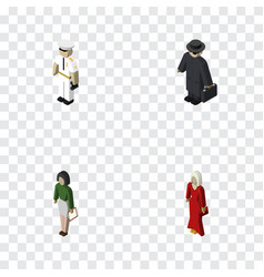 Isometric person set of detective pedagogue vector