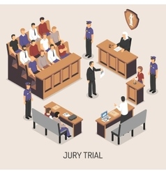 Jury Trial Isometric Composition vector image vector image