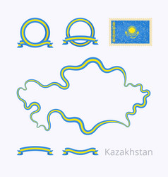 Kazakhstan - outline map and ribbons vector
