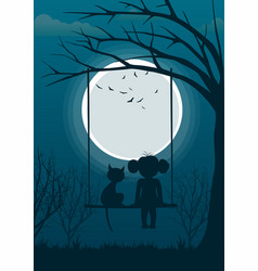 Little girl with cat on tree swing over full moon vector