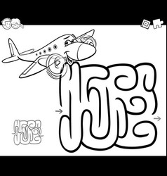 Maze with plane coloring page vector