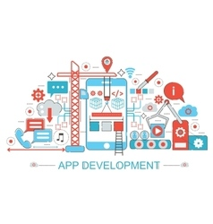 Modern flat thin line design app development vector