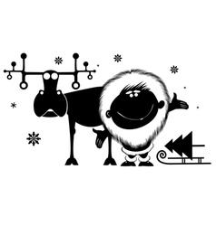 Northman and reindeer vector image vector image