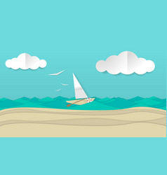 Paper craft art of a sailboat ship vector