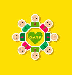 Paper sticker on stylish background of gay in vector