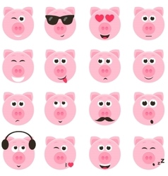Pig smiley faces set vector
