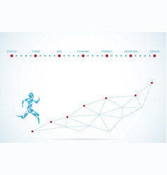 polygonal running man and text for startup concept vector image vector image