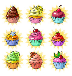 Pop art tasty cupcake patch or sticker set vector