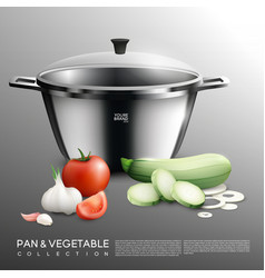 Realistic pot and vegetables set vector