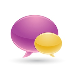 Violet and yellow chat icon with white background vector