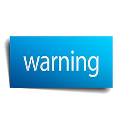 Warning blue paper sign isolated on white vector