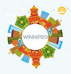 Winnipeg skyline with color buildings blue sky vector
