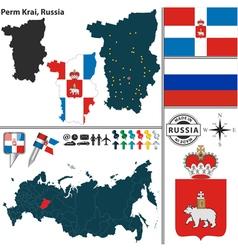 Map of Krai of Perm vector image