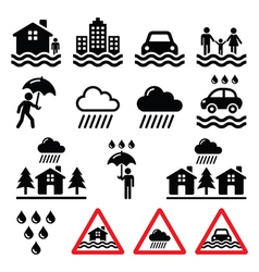 Flood natural disaster heavy rain icons set vector