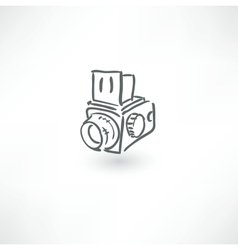 Hand drawn old camera icon vector