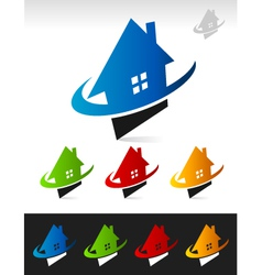 House Real Estate Swoosh Logo Icons vector image