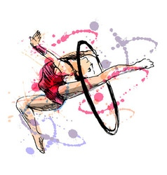 Colored hand sketch gymnast vector