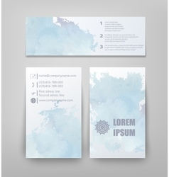 Abstract watercolor style brochure design in blue vector