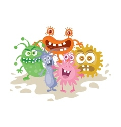 Set of Cartoon Monsters Funny Smiling Germs vector image