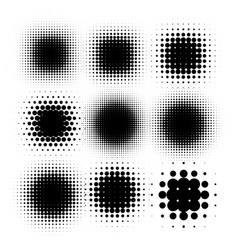 Isolated black color abstract round shape halftone vector