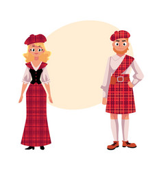 Scottish couple in traditional national costumes vector