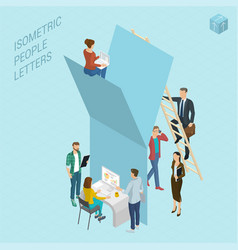 Isometric letters with people vector