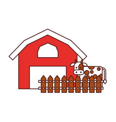 Farm stable building with cow vector