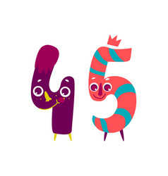 Animallike character number forty five 45 vector