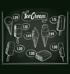 hand drawn ice cream menu design on vector image