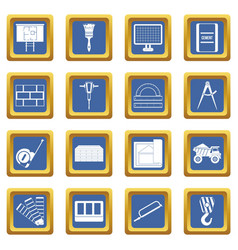 construction icons set blue vector image