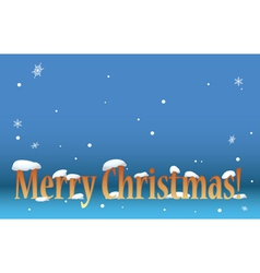 Blue background - merry christmas with snow vector