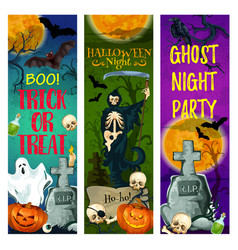 Halloween ghost party banner of october holiday vector