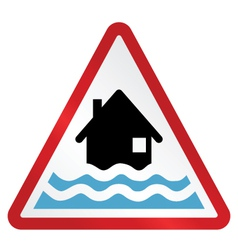 Red flood warning sign vector