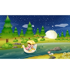 A river with a floating boat with kids vector image
