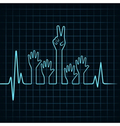 Heartbeat make helping and victory hand vector image
