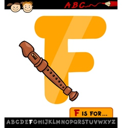 Letter f with flute cartoon vector
