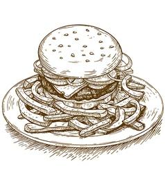 engraving hamburger vector image