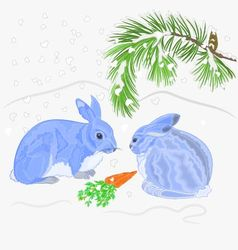 Rabbits and snow christmas motive vector