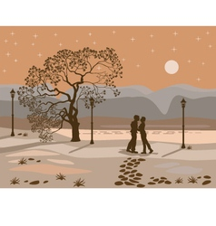 Kissing couple in the park at night vector