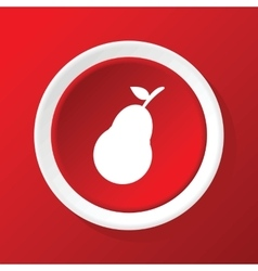 Pear icon on red vector