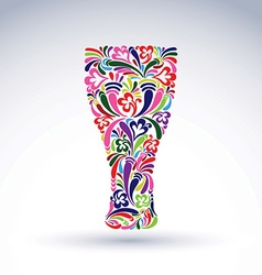 Glass decorated with abstract floral pattern and vector