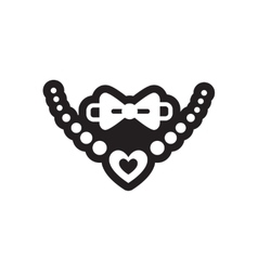 Flat icon in black and white style tie necklace vector image