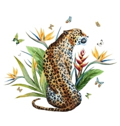 Watercolor leopard vector